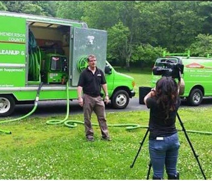 WLOS ABC News 13 Interviewing SERVPRO Of Henderson County After Flash Flooding